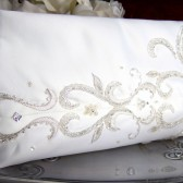 Ivory and Silver Beaded Embroidered Clutch Purse