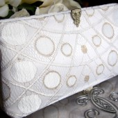 White and Gold Lace Bridal Clutch / Art Deco Gatsby Wedding / Gold Wedding Dress Accessory