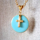 Delicate Cross Enamel Charm Necklace