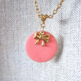 Tiny Bow Enamel Charm Necklace