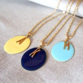 Enamel Initial Custom Bridesmaid Necklaces