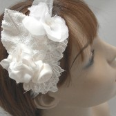 Wedding veil, tie headband of Lace and satin flowers, vintage headband, wedding veil- FALL/ WINTER 2013
