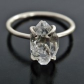 Herkimer Diamond Quartz Crystal and Sterling Silver Ring