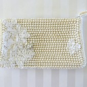 vintage pearl beaded purse with lace