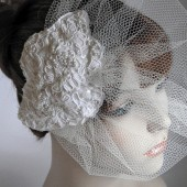 Lace Bridal Fascinator, Blusher Veil, Vintage Style Bridal,Veil and Lace Headpeice ,Ivory, Victorian Inspired Bridal-