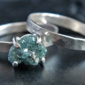 Rough Blue Diamond and Sterling Silver Wedding Set