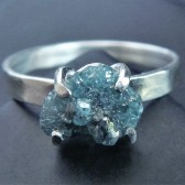 Rough Blue Diamond and Sterling Silver Engagement Ring