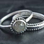 Gray Diamond and Sterling Silver Wedding Set