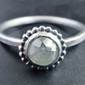 Gray Diamond and Sterling Silver Engagement Ring
