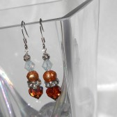 Bridesmaids Earrings .Jewelry. Bridal party gift. Tangerine Dark Topaz, Swarovski and Freshwater pearl Short dangle, Fall Wedding