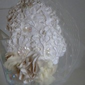 Bridal Birdcage Blusher Veil with Ivory Lace Headband, Bridal headpiece, Bridal fascinator ,Wedding hair,