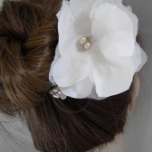 Bridal Headpiece, Silk Rose Bridal Hair Flower Comb, Ivory, Cream, Wedding Hair Accessories, Freshwater Pearl Wedding Headpiece