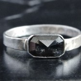 Black Diamond and Sterling Silver Engagement Ring