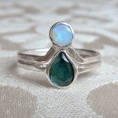 Blue Tourmaline and Opal Engagement Ring Set