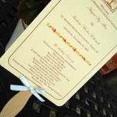 Fall in Love Wedding Program Paddle Fan