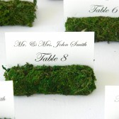 Moss covered place card holders