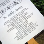 Classical Calligraphy Wedding Program Paddle Fan