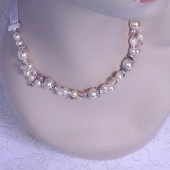 Bridal Necklace, Wedding Jewelry, Cream Pearl and Champagne Crystal Necklace, Beaded Bridal Necklace, Pearl and Crystal Necklace