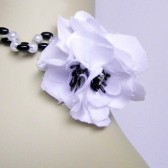 Black and White statement necklace, white and black pearls, black satin flower, bridesmaid necklace, Beaded Necklace- BETHANNY