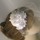 Birdcage Veil and Lace Bridal Fascinator, Vintage Style Wedding Veil and Lace Hair Clip ,Ready to shipr- JULIETTE
