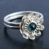 Blue Diamond Lotus Flower Engagement Ring