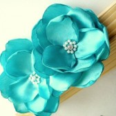 SALE Tiffany Blue Satin Hair flower clip brooch dress sash clutch Prom- Handmade Flower