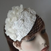 Ivory Lace Juliet Cap with Russian Birdcage Veil, 1920s Inspired Bridal Veil, Eco-Bridal Veil-FALL/ WINTER 2013