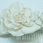 100% Silk Bridal flower Fascinator, pearl and crystal brooch, Eco-bridal, Ready to ship, Vintage Flower Bridal Comb