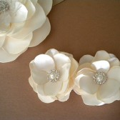 Ivory - Bridal Hair Clip Roses with Pearl and Rhinestones Satin Flower Handmade Wedding