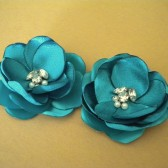 Shoe Clips Teal Blue Satin Flowers with Rhinestone and Pearl Center Handmade