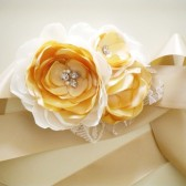Eva - Dusty Gold Lace and cream flowers Bridal sash headband Handmade Wedding