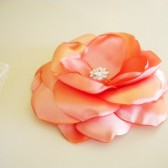 Sweet Salmon Peach Satin Flower Hair Clip and Brooch Pin Handmade
