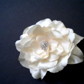 Kelsie Bridal Hair Clip Ivory - Rose with Rhinestones