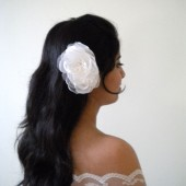Double Flower Bridal Hair Comb Chiffon and Lace Handmade Wedding