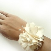 Ivory Hydrangea Bridal Wedding Cuff Bracelet Rustic Countryside