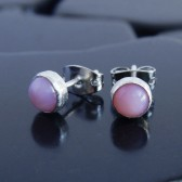 Pink Opal and Sterling Silver Stud Earrings