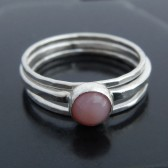 Pink Opal and Sterling Silver Stacking Ring Set