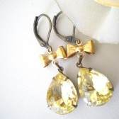 Vintage Style Peach OR Citrine Rhinestone earringsWedding bridesmaid