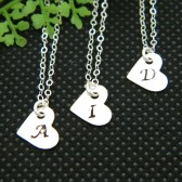 heart initial necklace,flower girl necklace, flower girl gift