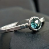 Rose Cut Blue Diamond and Sterling Silver Ring