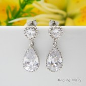 bridal earrings, wedding earrings, wedding jewelry, bridesmaid earrings, crystal dangle earrings