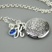 Personalized Birthstone Silver Locket Necklace