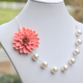Bridesmaid Statement Necklace with Large Coral Flower and Chunky White Swarovski Pearls. Asymmetrical Flower Pearl Statement Necklace.