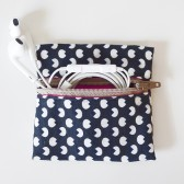 Small Navy Blue Zipper Pouch - Headphones case