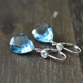 Blue Bridal Drop Earrings