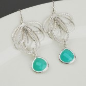 aqua blue and silver bridesmaid earrings