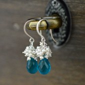 Teal Gemstone Bridal Earrings