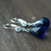 Dark Blue Bridal Earrings
