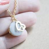 Double Heart Charm with Small Photo Locket