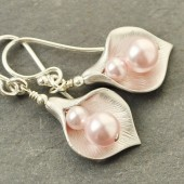 pink pearl calla lily earrings